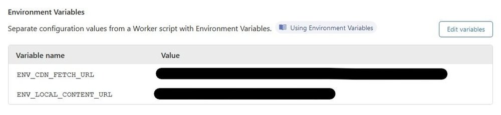 Example setting an environment variable in the Cloudflare Workers Settings