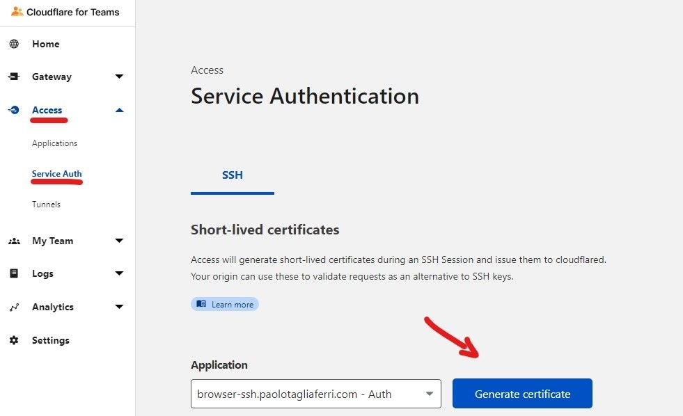 Cloudflare for Teams Dashboard - Service Authentication